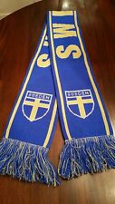 Sweden Soccer Neck Scarf in Blue Yellow with Fringe 6x62 Gently Used
