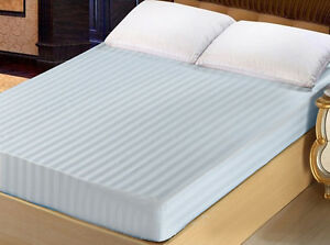 """x1 Queen 100% Cotton Soft 300TC Fitted Sheet 60"""" x 80"""" Stripe Hotel Collection"""
