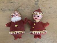 Vintage Flocked Santa And Mrs Claus Christmas Ornament Pair
