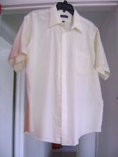 MENS SHIRT SHORT SLEEVE PALE YELLOW BUTTON FRONT SIZE 17.5 BY WENTWORTH .