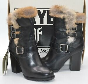 New $458 Frye Penny Luxe Moto Short Black Leather/Real Rabbit Fur Boots sz 7.5