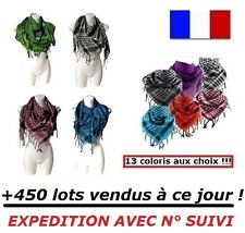 LOT 4 KEFFIEH Chèche foulard noir blanc vert rouge bleu rose marron gris jaune