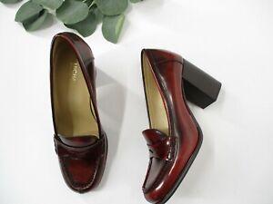MICHAEL Michael Kors Buchanan Mid Loafer Brandy Heel Women's Sz 5 Patent Leather
