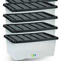 20 X 7L 7 Litre Storage Box Container Clear Plastic Black Locking Lids Stack