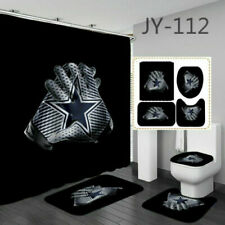 4Pcs Dallas Cowboys Bathroom Rugs Set Shower Curtain Bath Mat Toilet Lid Cover