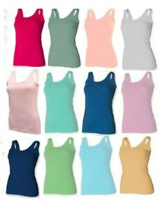 NEW LADIES VEST WOMEN PLAIN SUMMER CASUAL TANK STRETCHED TOP TSHIRT