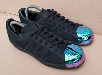 ADIDAS SUPERSTAR 80'S BLACK RAINBOW METAL TOE TRAINERS SIZE 5 UK IMMACULATE