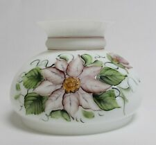 Hand Painted Pink Floral Design Glass Lamp Shade 7 Inch