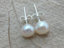 REAL925 STERLING SILVER white FRESHWATER PEARL studs EARRINGS 6mm to 12mm -WOMEN