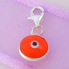 9mm ORANGE EVIL EYE PROTECT CLIP CHARM STERLING SILVER
