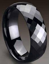 TUNGSTEN CARBIDE Black Plated Diamond Faceted BANd RING, size 14 - in Gift Box
