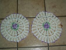 """VINTAGE 2 PIECE SET HAND CROCHET TABLE CLOTH TRAY  DOILY  SIZE 8""""  INCH LOVELY"""