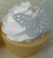 12 silver/grey edible wafer butterfly cupcake cake toppers birthday high tea