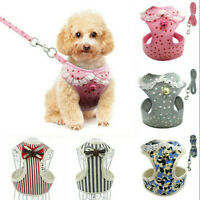 Small Pet Vest Harness Leash Set Walk Lead Dog Puppy Cat Soft Mesh Breathable