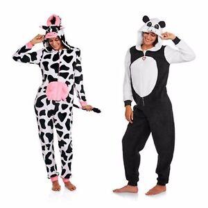 NEW Women's Plush One-Piece Pajamas Hooded Union Suit Costume Cow Panda XS XL 2X