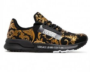 Versace Jeans Couture E0YWASA4 71934 Printed Knitted Men's Trainers Black Shoes