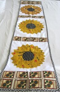 """Machine sewing patchwork and applique handmade size 16""""x  64""""table runner"""