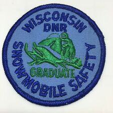 Vtg Wisconsin State DNR Snowmobile Safety Graduate Sled Round Embroidered Patch