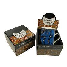 Australia Aboriginal Art Blue Mug Cup Indigenous Hunters Gatherers Reef Gift Box