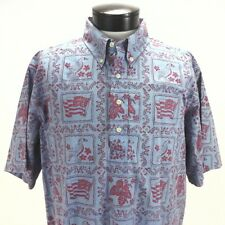 REYN SPOONER Hawaiian Shirt Flag/Nene Goose Red/Blue Pullover Aloha USA Men's XL