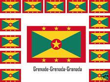 Assortiment lot de10 autocollants Vinyle sticker drapeau Grenade Grenada Granada