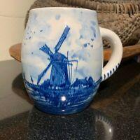 Delfts Holland Hand Painted Large Blue Barrel Shaped 24 ounce Mug - Pristine
