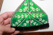 Vintage Uzbek Hat Tubiteyka Hat Colorful  Embroidery Skull Cap green Workmanship