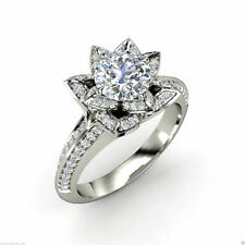 2.15 ct Brilliant Floral Solitaire Diamond Engagement Ring Solid 14kt White Gold