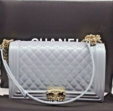 Authentic CHANEL Deauville 2way Chain Shoulder Tote Bag Calf Leather/Blue Color