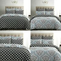DAMASK BEDDING GREY DUVET COVER SET 100% COTTON 200TC DOUBLE SUPER KING SIZE
