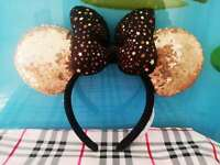 Disney Disneyland Parks Paris Gold Black Is Magical Minnie Sequin Ears Headband