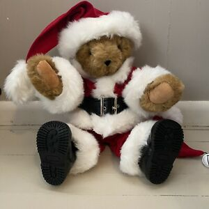 The Vermont Teddy Bear Company 17' Jointed Santa Clause Bear Suit Stocking Bell