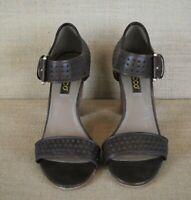 """Ecco sandals women's Heel Omak brown sz 37 perforated buckle chocolate 3"""" US 6.5"""