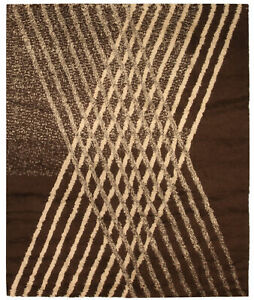 Contemporary Brown & Cream Moroccan Hand Knotted Wool Rug N10338