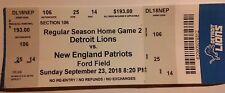 2018 Detroit Lions New England Patriots Ticket Tom Brady Matthew Stafford sm cr