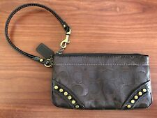 Coach Signature Zip Wristlet Fabric with Leather and Studded Accent - Dark Brown