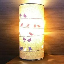 Natural Fabric Colour Table Lamp - Birds on a Wire Design