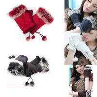 Fashion Rabbit Fur Lady Fingerless Suede Mittens Women Winter Warm Wrist Gloves