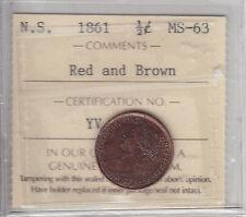 1861 Nova Scotia Half Cent ICCS Graded MS-63 Choice RB - Sale