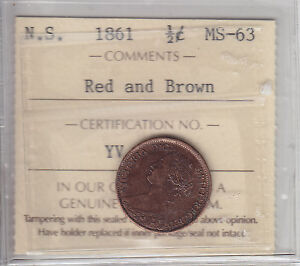 1861 Nova Scotia Half Cent ICCS Graded MS-63 Choice RB - Sale