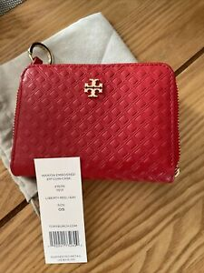 Tory Burch Marion Embossed Zip Coin Case Wallet Liberty Red BNWT