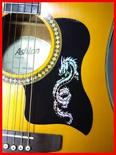 ACOUSTIC GUITAR PICKGUARD / SCRATCHPLATE SELF-ADHESIVE SILVER DRAGON DESIGN