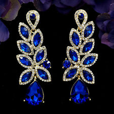 18K Gold Plated GP Blue Crystal Rhinestone Drop Chandelier Dangle Earrings 06120