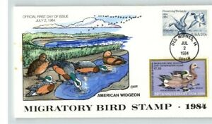 Hand Painted, American WIDGEON Duck Stamp on 1984 First Day cover, RW51 Hunting