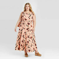 Ava & Viv Women's Plus Size Floral Print Sleeveless Tiered Dress Coral 1X & 3X