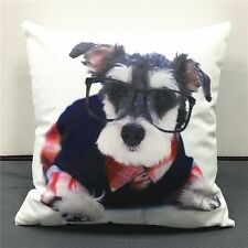 Schnauzer Dog with glasses Cushion Cover