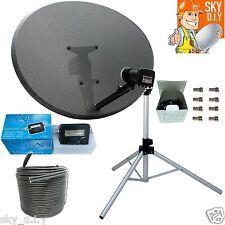 Freesat / Sky 80cm Zone 2 Satellite Dish,LNB,Tripod,finder & 20m Black Twin Coax