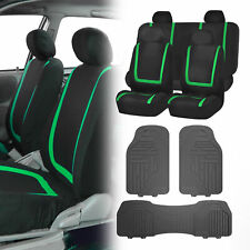 Black Green Car Seat Covers with Gray Premium Floor Mats for Auto Car SUV