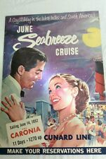 """Vintage Cunard Line Travel Poster """"Gay Holiday"""""""