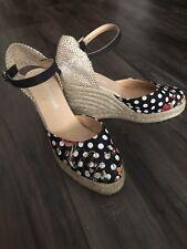 Desigual Size 39 Black Polka Dot Espadrilles Wedge Platform Sandals Ankle Wrap